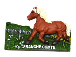Magnet cheval Comtois en résine
